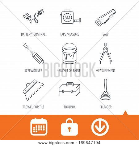 Screwdriver, plunger and repair toolbox icons. Trowel for tile, bucket of paint linear signs. Measurement, battery terminal icons. Download arrow, locker and calendar web icons. Vector