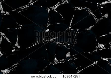 Abstract texture of cracked and broken glass, black and white color background. Backdrop, substrate, composition use.