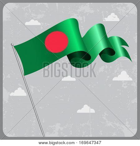 Bangladeshi flag wavy abstract background. Vector illustration.