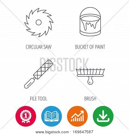 File tool, circular saw and brush tool icons. Bucket of paint linear sign. Award medal, growth chart and opened book web icons. Download arrow. Vector