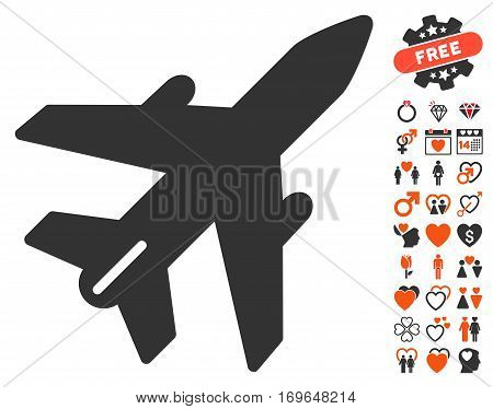 Airplane icon with bonus decorative images. Vector illustration style is flat iconic elements for web design app user interfaces.