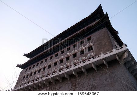 BEIJING - FEBRUARY 24, 2016: Archery Tower of Zhengyangmen is a gate in Beijing's historic city wall situated to the south of Tiananmen Square and once guarded the southern entry into the Inner City