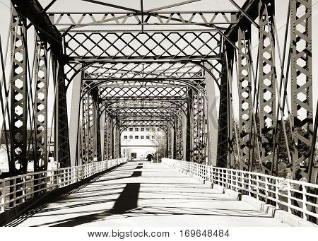 Walking bridge at Grand Rapids, Michigan in monochrome