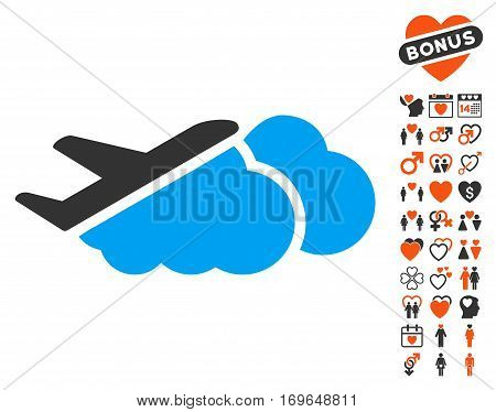 Airplane Over Clouds pictograph with bonus lovely clip art. Vector illustration style is flat iconic symbols for web design app user interfaces.
