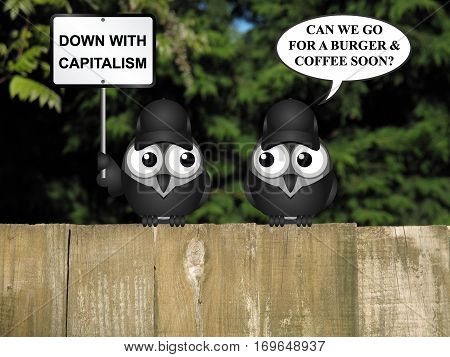 Comical contradictory anti capitalism bird protestors demonstrating