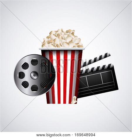 reel tape, clapboard and pop corn icon over white background. colorful design. vector illustration