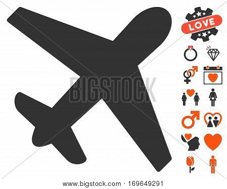 Airplane icon with bonus lovely design elements. Vector illustration style is flat iconic symbols for web design app user interfaces.