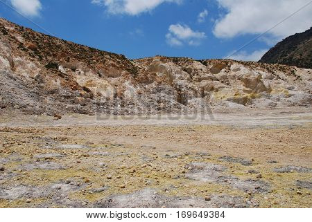 Yellow sulphur on the surface of the Stefanos volcano crater on the Greek island of Nisyros.