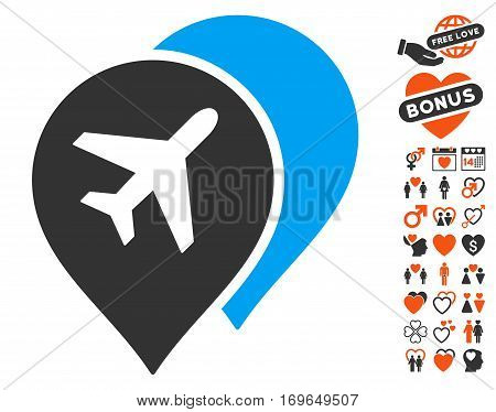 Airport Map Markers pictograph with bonus decorative design elements. Vector illustration style is flat iconic elements for web design app user interfaces.