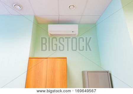 Air conditioner on the wall in the office.