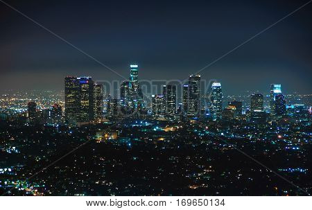 Night view of downtown Los Angeles, California United States