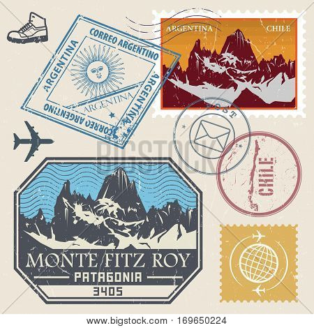Post stamp set with the Monte Fitz Roy is a mountain located in the South Patagonia outdoor expedition mountain adventure signs vector illustration