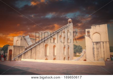 Jantar Mantar - the observatory built in 1727-1734 gg. Rajput by Maharaja Sawai Jai Singh in which he founded shortly before the city of Jaipur.