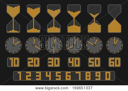 Flat elements for infographics. Hourglass clock an digital time indicator. Concept vector illustration on dark background represent ten seconds time interval icons of sandglass watch and timer.