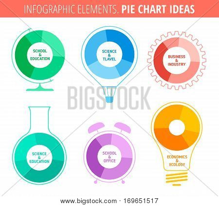 Flat thin line infographic template. Pie chart ideas. Concept vector elements for science school travel industrial office and business infographics.