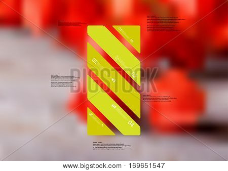 Illustration infographic template with motif of green bar askew divided to five standalone sections. Blurred photo with natural motif of red blooms on grey board is used as background.