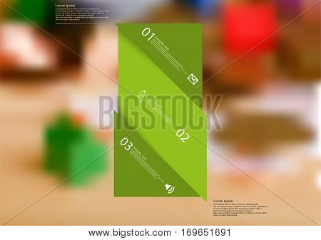 Illustration infographic template with motif of green bar askew divided to three sections. Blurred photo with financial motif with coins and money on board is used as background.
