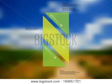 Illustration infographic template with motif of green bar askew divided to three sections. Blurred photo with natural motif with path between field and cloudy sky is used as background.