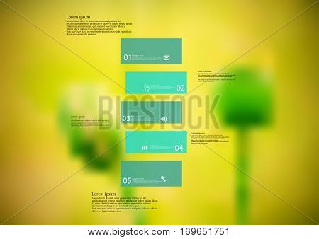 Illustration infographic template with motif of green bar horizontally divided to five standalone sections. Blurred photo with natural motif of green poppy flowers is used as background.