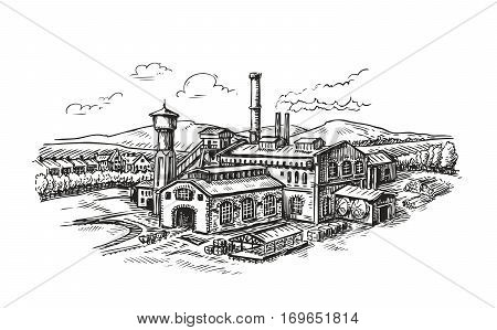 Industrial plant, factory sketch. Vintage building vector illustration isolated on white background