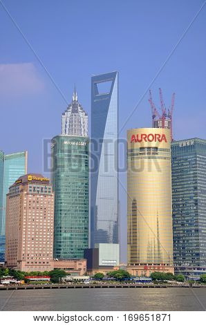 SHANGHAI - AUG. 13, 2012: Shanghai Pudong financial district skyline, Jinmao Tower and World Financial Center, Shanghai, China.