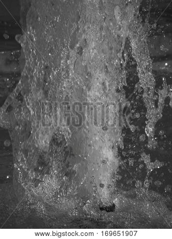 Splashes of fountain water (black and white)