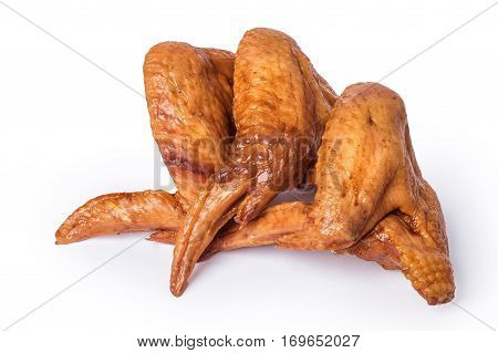 smoked chicken wings and legs on a white background