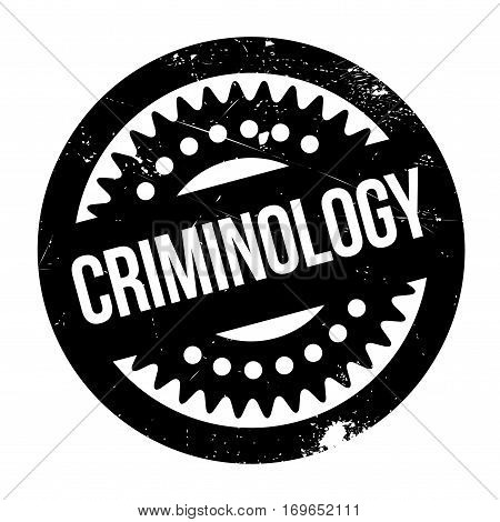 Criminology rubber stamp. Grunge design with dust scratches. Effects can be easily removed for a clean, crisp look. Color is easily changed.
