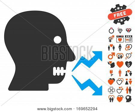 Angry Person Shout pictograph with bonus valentine symbols. Vector illustration style is flat iconic elements for web design app user interfaces.