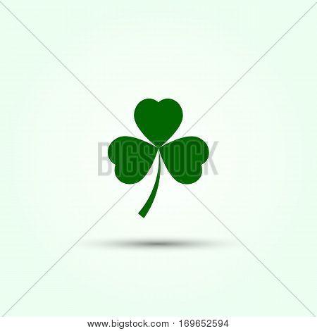 Vector shamrock icon. Green shamrock illustration with shadow. Isolated shamrock for Saint Patrick s Day.