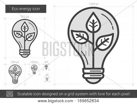 Eco energy vector line icon isolated on white background. Eco energy line icon for infographic, website or app. Scalable icon designed on a grid system.