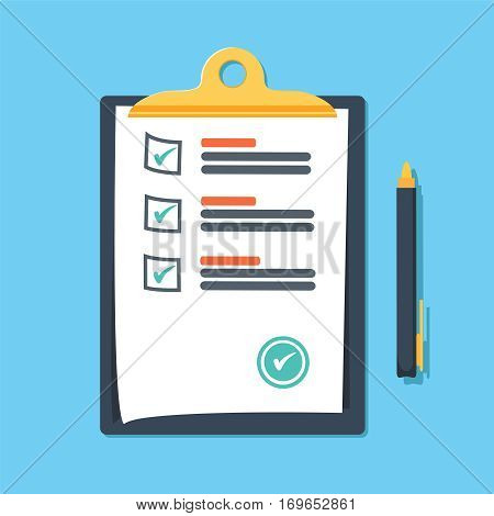 Clipboard with green ticks checkmarks and pen. Checklist, complete tasks, to-do list, survey, exam concepts. Premium quality. Modern flat design graphic elements. Vector illustration.