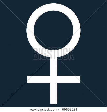 Venus Female Symbol flat icon. Vector white symbol. Pictogram is isolated on a dark blue background. Trendy flat style illustration for web site design logo ads apps user interface.