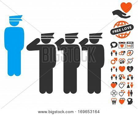 Army icon with bonus love pictograph collection. Vector illustration style is flat iconic elements for web design app user interfaces.