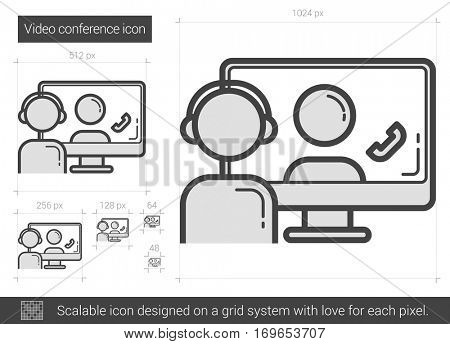 Video conference vector line icon isolated on white background. Video conference line icon for infographic, website or app. Scalable icon designed on a grid system.