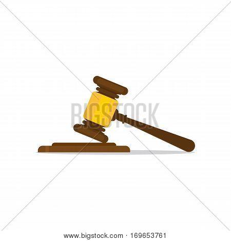A wooden judge gavel and soundboard, vector illustration EPS 10.
