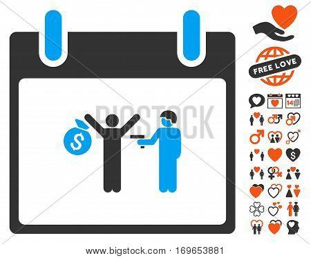 Arrest Calendar Day icon with bonus valentine symbols. Vector illustration style is flat iconic symbols for web design app user interfaces.