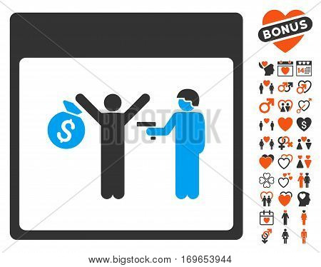 Arrest Calendar Page icon with bonus dating clip art. Vector illustration style is flat iconic elements for web design app user interfaces.