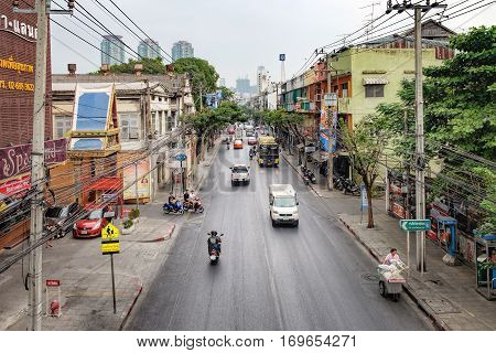 Bangkok, Thailand - January 9, 2016: Aerial view of Charoen Krung Road with traffic jams. It is a major road in Bangkok and the first in Thailand to be built using modern construction methods.