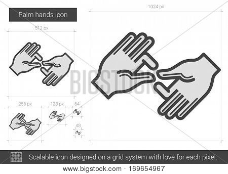 Palm hands vector line icon isolated on white background. Palm hands line icon for infographic, website or app. Scalable icon designed on a grid system.