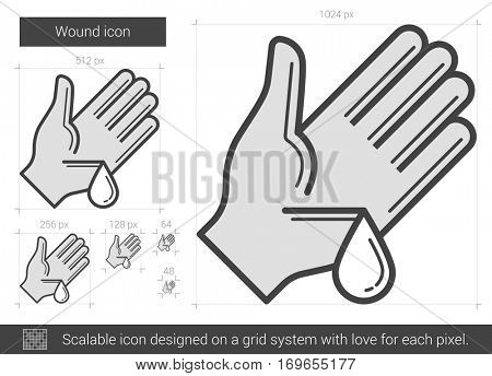 Wound vector line icon isolated on white background. Wound line icon for infographic, website or app. Scalable icon designed on a grid system.