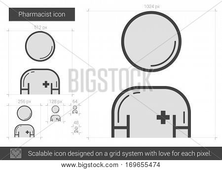 Pharmacist vector line icon isolated on white background. Pharmacist line icon for infographic, website or app. Scalable icon designed on a grid system.