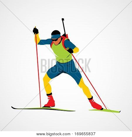 Abstract biathlete on a white background. Vector illustration.