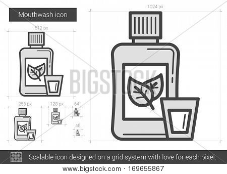 Mouthwash vector line icon isolated on white background. Mouthwash line icon for infographic, website or app. Scalable icon designed on a grid system.