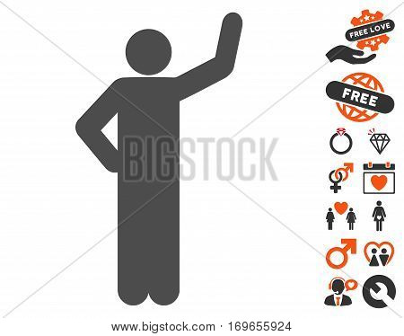 Assurance Pose icon with bonus decoration pictures. Vector illustration style is flat iconic elements for web design app user interfaces.