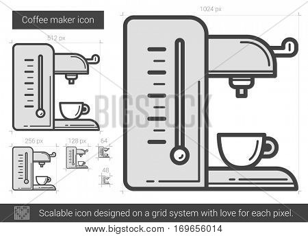 Coffee maker vector line icon isolated on white background. Coffee maker line icon for infographic, website or app. Scalable icon designed on a grid system.