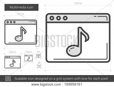 Multimedia vector line icon isolated on white background. Multimedia line icon for infographic, website or app. Scalable icon designed on a grid system.