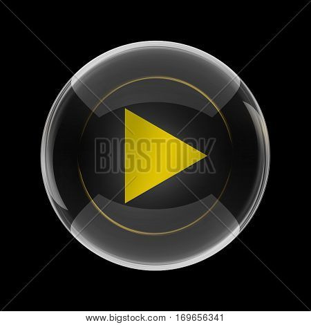 The view of yellow symbol in the shape of play button