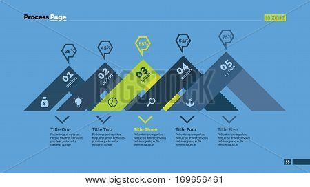 Five options percentage chart and stairs. Business data. Comparison, diagram, design. Concept for infographic, presentation, report. Can be used for topics like analysis, statistics, finance.