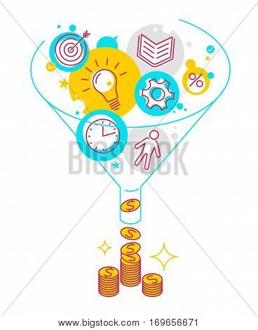 Funnel flow concept. Modern line style illustration. Process of conversion ideas time information technologies to money. Infographics vector elements for business publish web social media.